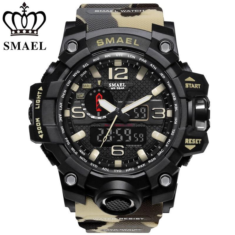 SMAEL Brand Watches Men's Dual Time Camouflage Sport Watch Army LED Digital Wristwatch Waterproof Men Clock Relogio Masculino