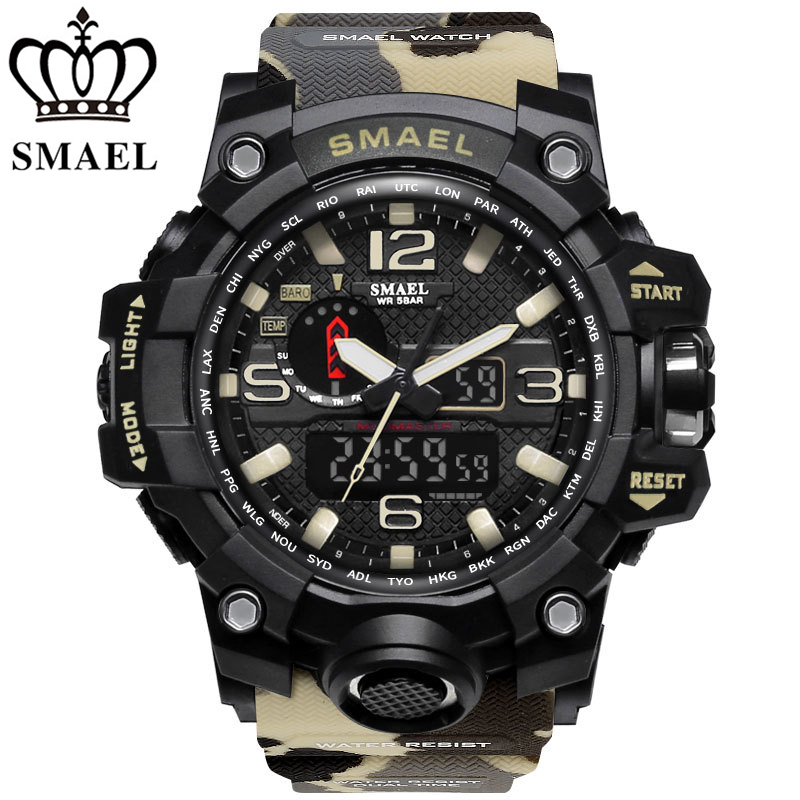 SMAEL Brand Watches Men's Dual Time Camouflage Sport Watch Army LED Digital Wristwatch Waterproof Men Clock Relogio Masculino
