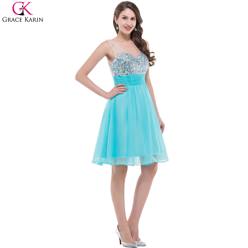 Grace Karin White Cocktail Dresses 2017 New Blue Women Short Prom Dress  Luxury Sequin Special Occasion Wedding Party Gowns 7507-in Cocktail Dresses  from ... aacbf2b06663