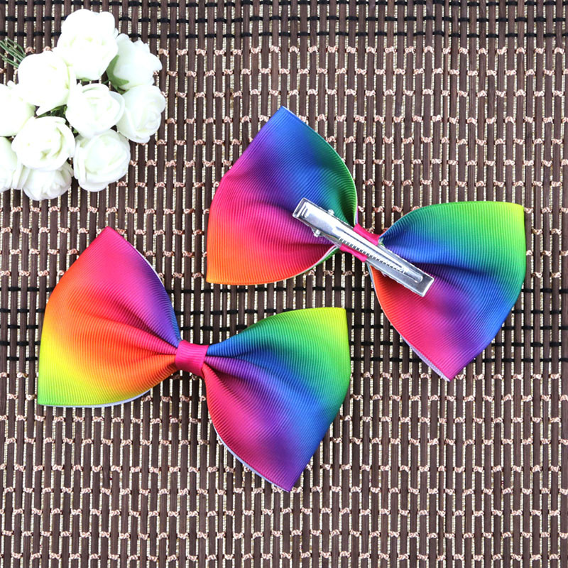 цена на  10PCS/LOT Dazzling Rainbow Bow Solid Grosgrain Ribbon Girl Small Bow Hair Tie Clip Hair Band Bow DIY Hair Accessories Best Gift