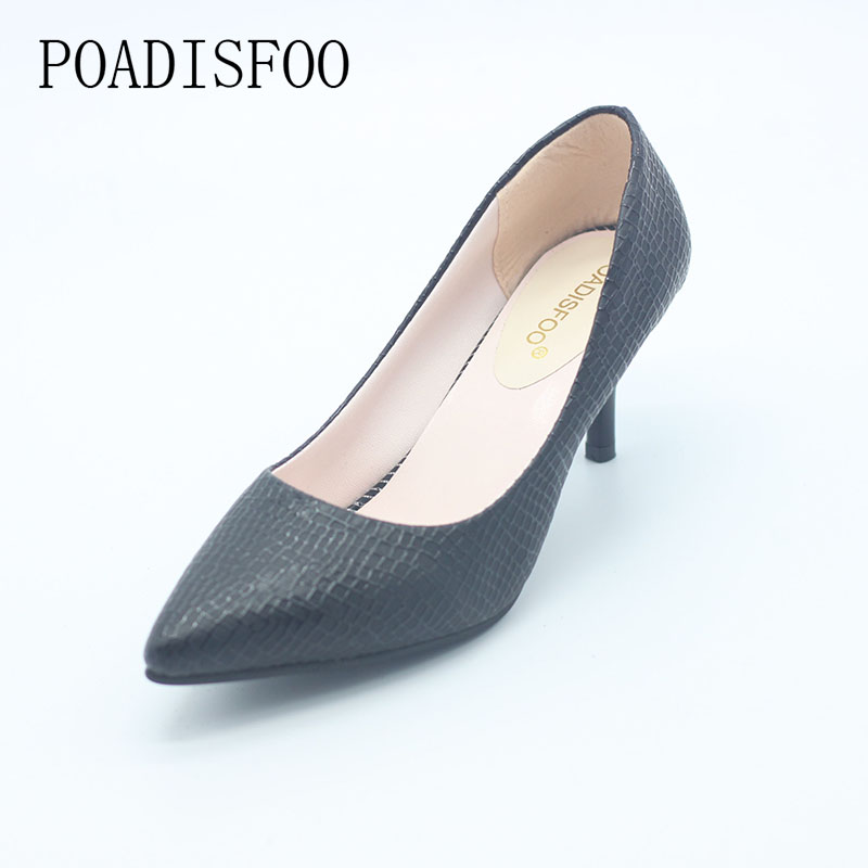 POADISFOO 2017 Spring And Summer New women's Strip High Heels Shallow Mouth Shoes Korean Pointed Female Shoes .LSS-187 2017 spring and summer new women s shoes female pointed shallow mouth slope with high heel shoe side empty leather woman s shoes