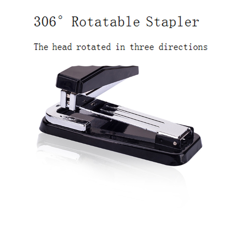 Deli 1PC 306Degree Rotatable Metal Stapler Random Color Large Size For Office School Paper Binding