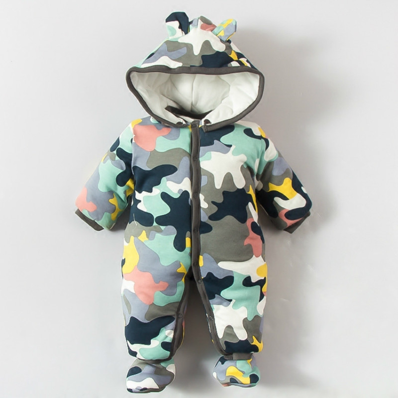 2017 Newborn Baby Rompers Warm Winter Cotton Long Sleeve Ropa Bebe Infant Girl Jumpsuit Set New Baby Boy Clothes Outwear 0-12M