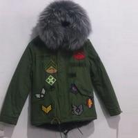2017 Waistcoat Remove Sleeve Army Green Parka,Mr Mrs Grey Fake Fur Lined Short Badge Coats
