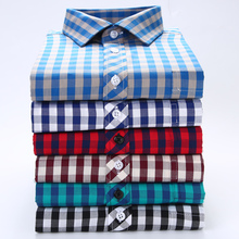 Cotton Comfort Plaid Casual Long Sleeve men Shirt Classic Turn-down Collar Slim Fit Men's Button Down Plaid Flannel Shirt
