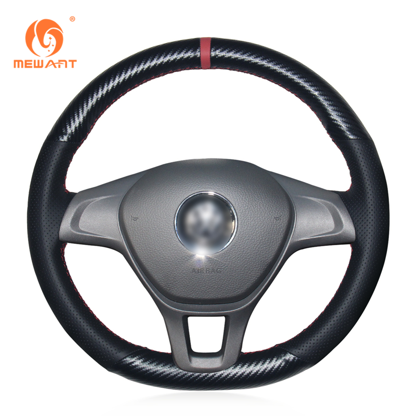 MEWANT Black Genuine Leather PU Carbon Fiber Steering Wheel Cover for Volkswagen VW Golf 7 Mk7 New Polo 2014 2015 2016 2017 special hand stitched black leather steering wheel cover for vw golf 7 polo 2014 2015