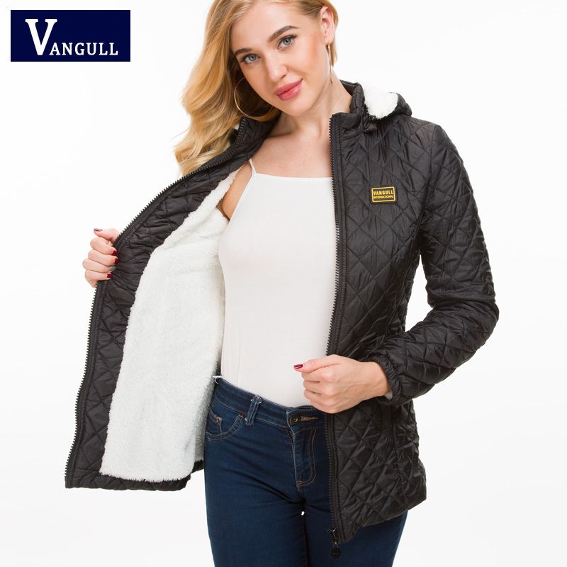 VANGULL Winter Coats Jackets Fleece Liner Hooded Jacket Argyle Pockets Coat Female   Parka   Fashion Autumn Outwear mujer 2018 New