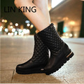 LIN KING New Flat Thick Sole Women Snow Boots Plaid Solid Fashion Warm Plush Lady Boots Preppy Style Girls Winter Shoes Big Size