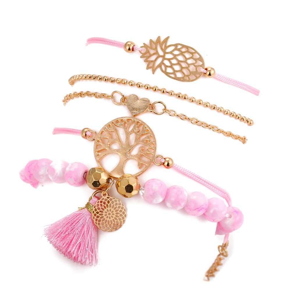 5 pièces/ensemble arbre de vie Bracelets porte-bonheur ananas coeur pendentif multicouche Bracelets & Bracelets femmes bijoux (BA102453)
