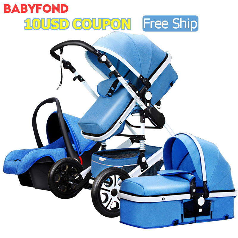 Free ship ! 2018 new colors brand baby stroller 3 in 1 baby car send send car seat folding baby car bb carriage original hot mum baby strollers 2 in 1 bb car folding light baby carriage six free gifts send rain cover
