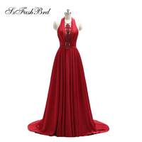 Vestido De Festa Halter With Beading A Line Long Red Formal Party Elegant Evening Dresses for Women Prom Dress