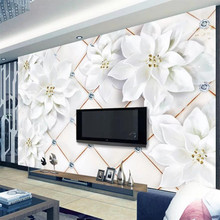 Custom wallpaper 3D stereo photo mural embossed white flower 3d diamond soft bag jewelry background wall papers home decor mural custom photo wallpaper european style figure statue 3d embossed mural hotel living room backdrop mural wall papers 3d home decor