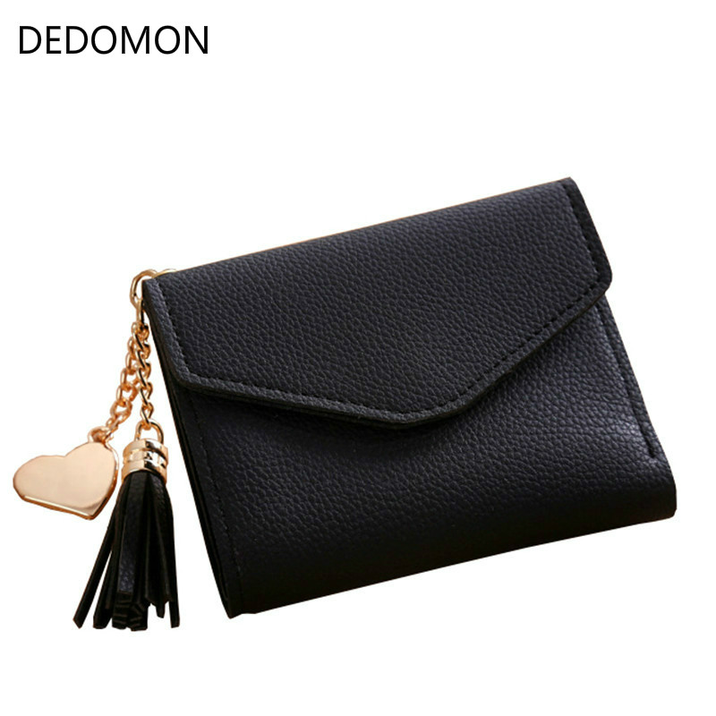 new Solid PU Leather Women hasp short tassel Wallet Female Wallets Purse Card Holder coin cash bag Portefeuille femme pouch