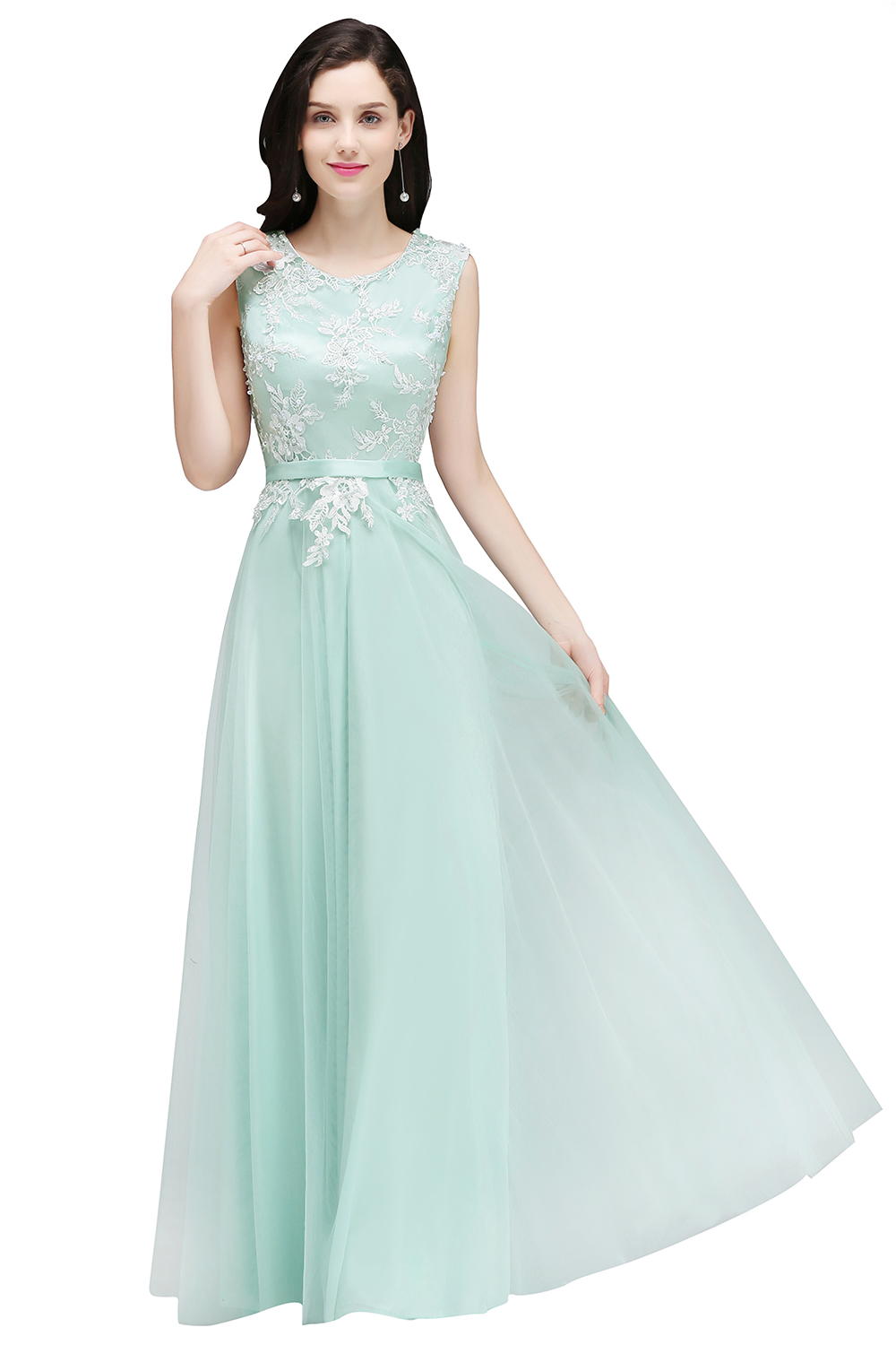 Elegant Mint Green O Neck Lace Tulle Bridesmaid Prom Dresses Long ...