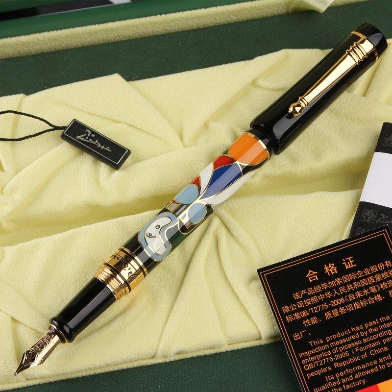 Spedizione gratuita penna stilografica Picasso stilografiche penna fiore bella fontana moda penna 14 k penne stilografiche pimio regalo nobile placcato Oro