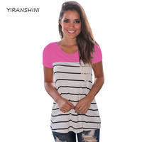 YIRANSHINI 2018 New Rose Striped Color Summer Women Fashion Short Sleeve O Round Neck Floral Lady