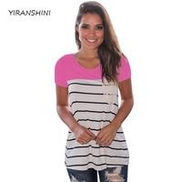 YIRANSHINI 2018 New Rose Striped Color Summer Women Fashion Short Sleeve O Round Neck Floral Lady
