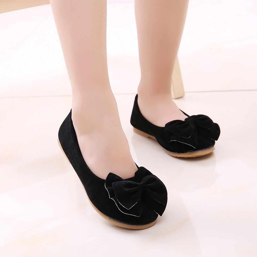 เด็กรองเท้าสบายๆรองเท้าเด็กฤดูใบไม้ผลิทุกวันรองเท้า Soft Sole Bowknot เดียวนุ่มขี้เกียจเต้นรำสำหรับเจ้าหญิงรองเท้า