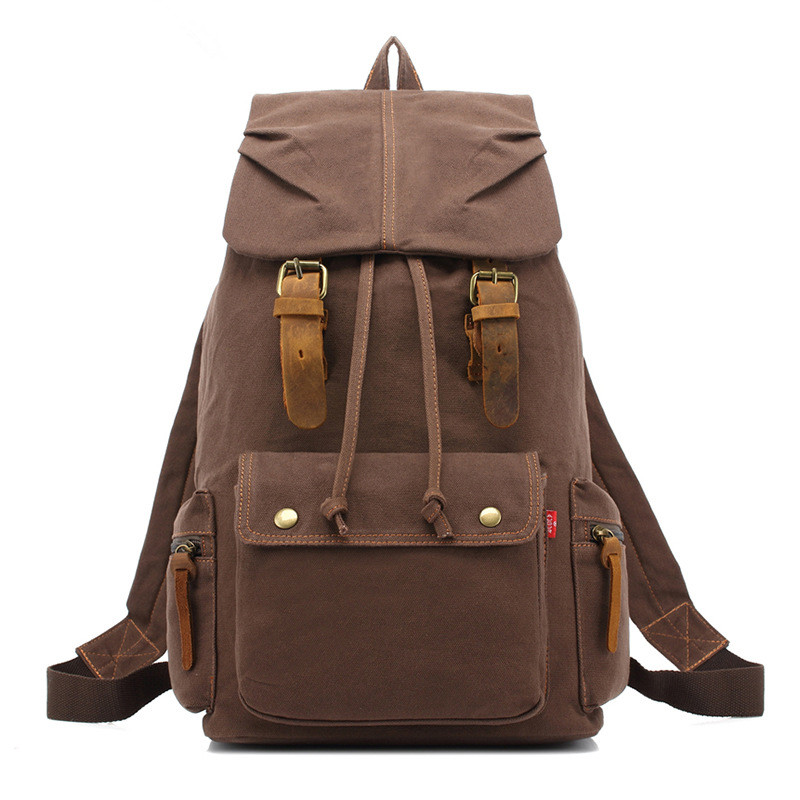 ФОТО New fashion Canvas backpack Leather retro casual men's and women's backpack Computer bag leather 2105#