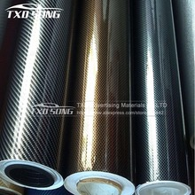 Free Shipping 4x50 10x127CM Glossy 2D Carbon Fiber Vinyl /Carbon Sticker For Auto Wrapping