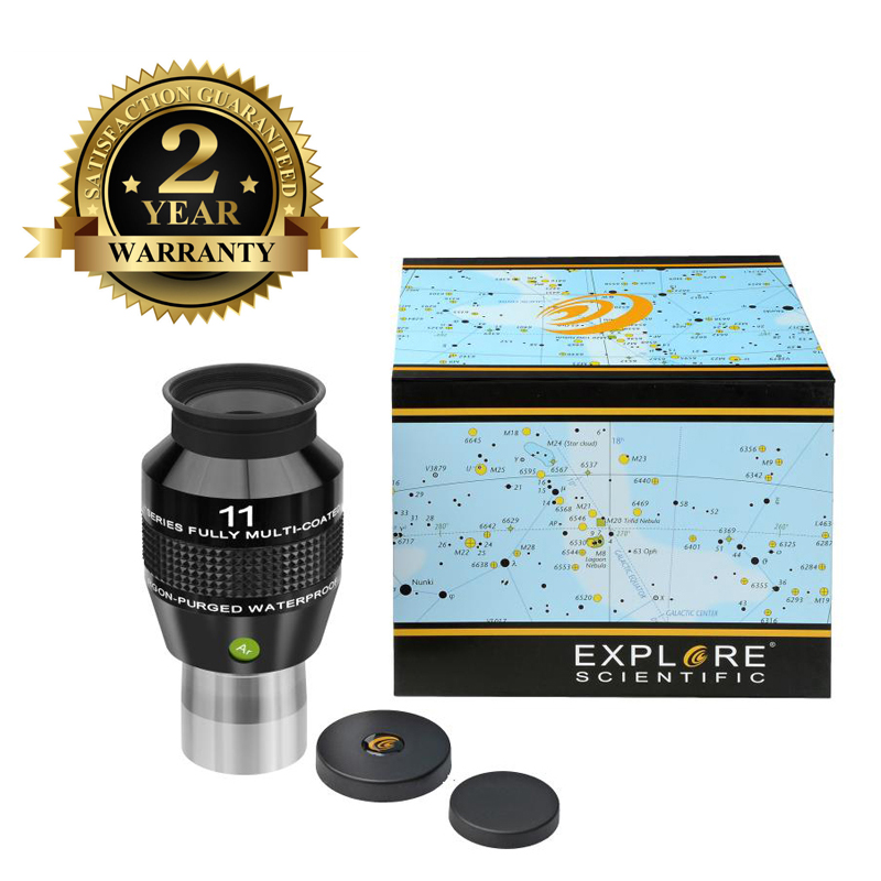 New Explore Scientific Eyepiece 82 degree Extreme Wide Field Waterproof 1.25inch 11mm Argon-Purged EMD Coatings