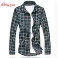 Los hombres de Algodón A Cuadros Camisas Brand Design Plus Tamaño 5XL 6XL 7XL Slim Fit Otoño Primavera de Manga larga Vestido de Camisa Chemise Homme F2304