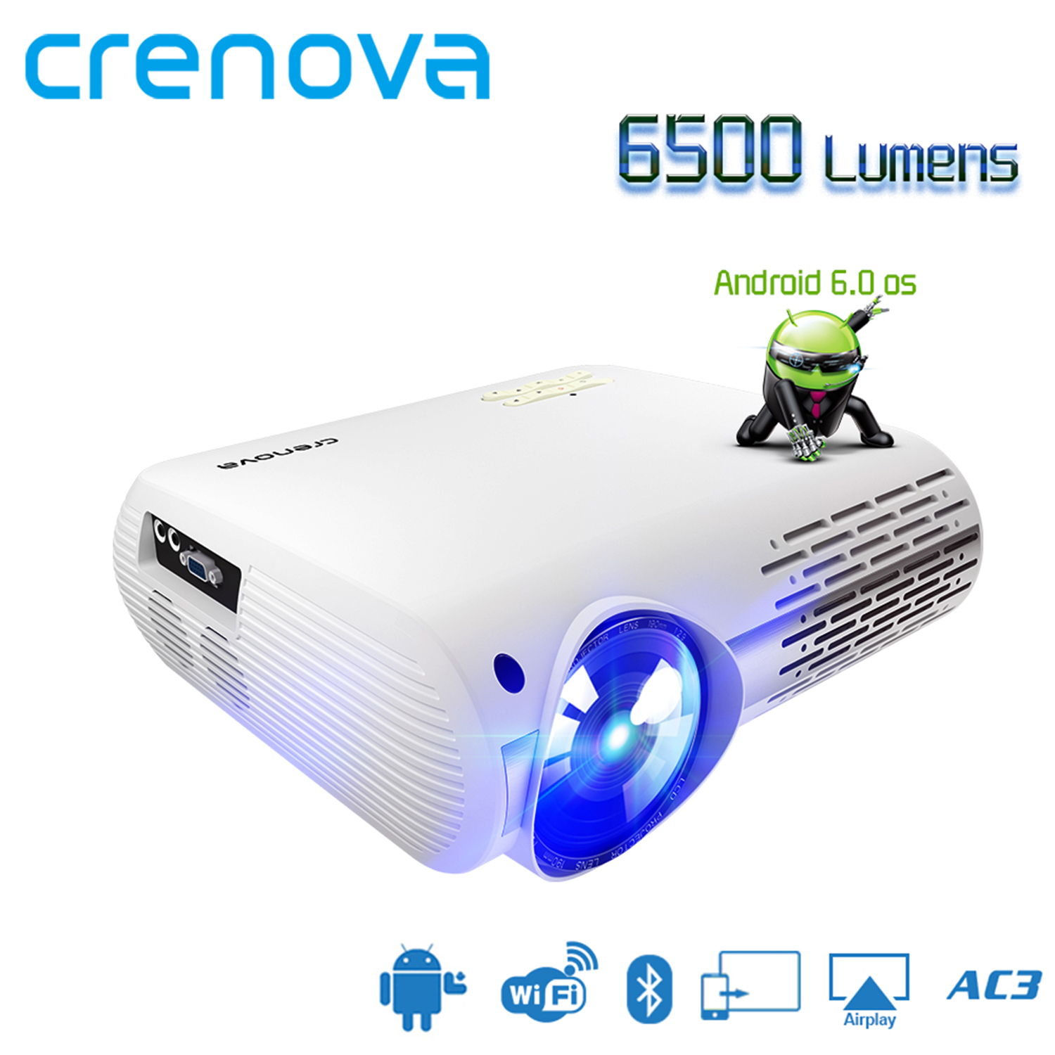 CRENOVA Highest Brightness  Android Projector 6500 Lumens Android 6.0 OS With WIFI Bluetooth HDMI VGA AV USB Video Projector(China)