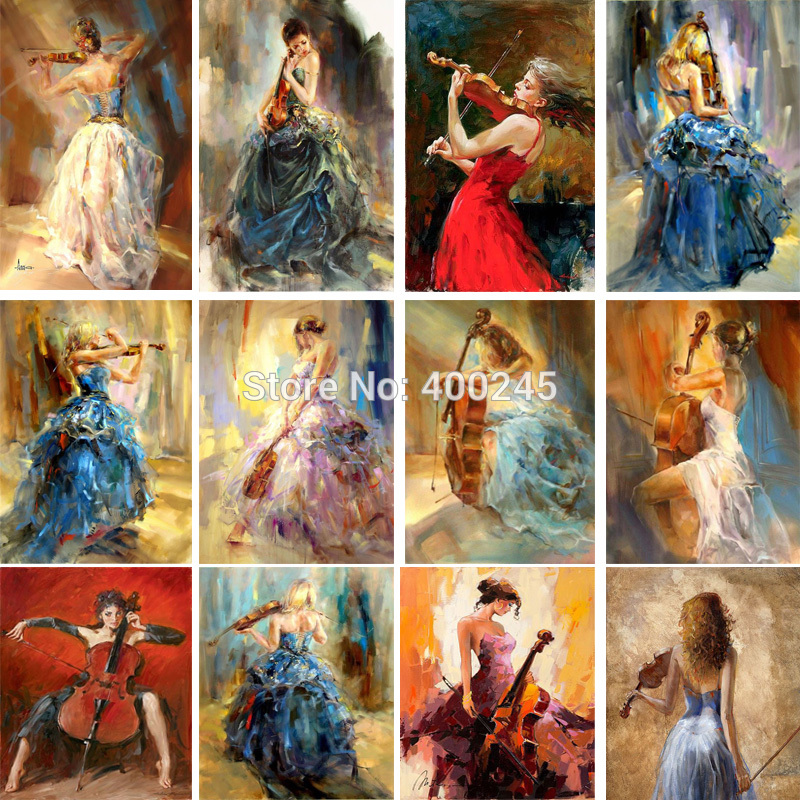 Figurative Paintings Girls with violin Beautiful woman painting modern art music and love Hand painted artwork for wall decor