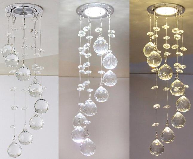 Bref Mini cristal plafonnier K9 cristal décoratif plafonnier chambre  cristal brossé éclairage de plafond lustre 110-240 V