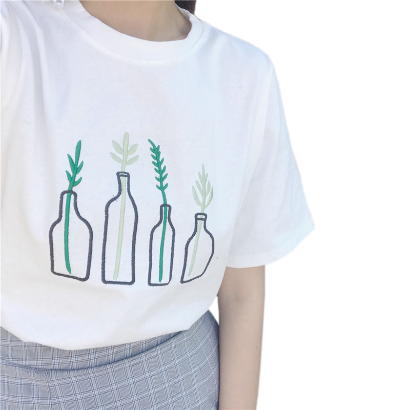 Ulzzang Grass Embroidery T Shirt 2017 Korean Women