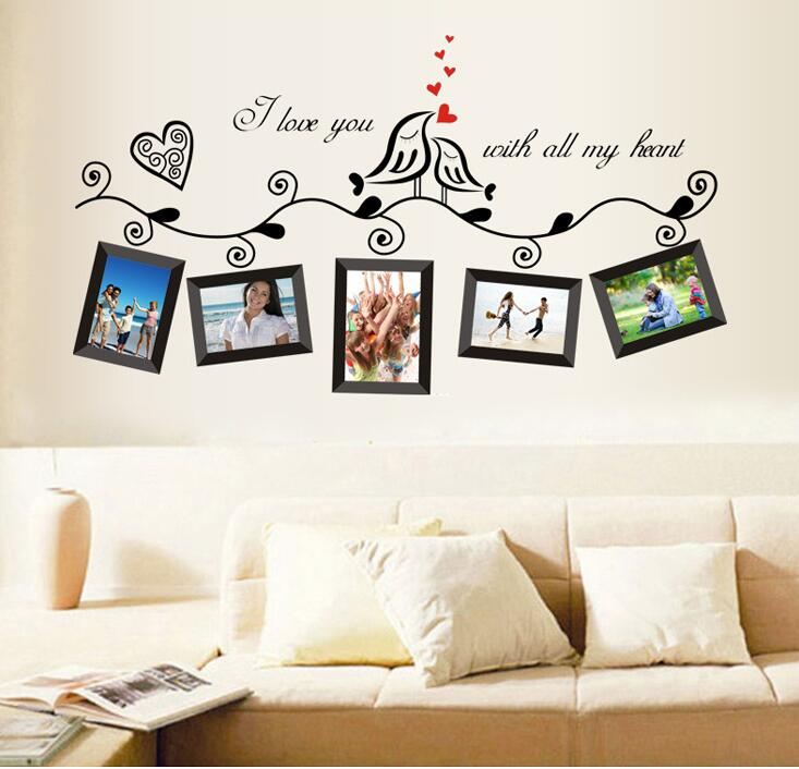 Diy Photo Frame Loving Bird Love You Heart Wall Stickers For Living Room Bedroom Vinyl Decoration Poster Decal Home Decor Mural