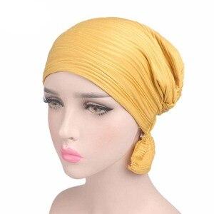 Image 3 - Nowy damski bawełniany kapelusz po chemioterapii czapka Turban z łbem nakrycia głowy dla raka muzułmańskiego jednokolorowego