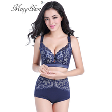 MengShan big size bra set Thin cotton cup sexy lace underwear women Agglomeration adjustment type plus 50F 115F