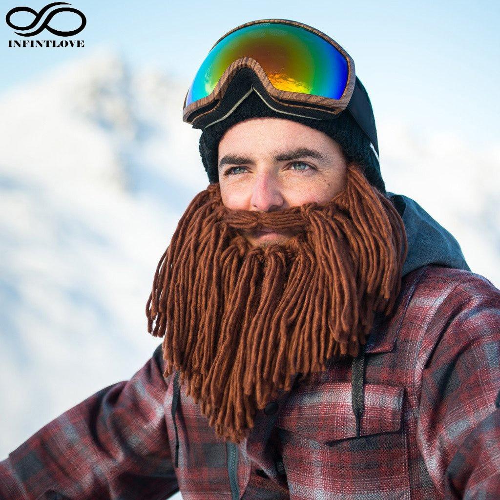 LUCKYLIANJI Men Halloween Cosplay Caveman Crochet Beanie Hat Funny Bearded Mask Fancy Warm Winter Knitted Cap Elastic Size caveman dave