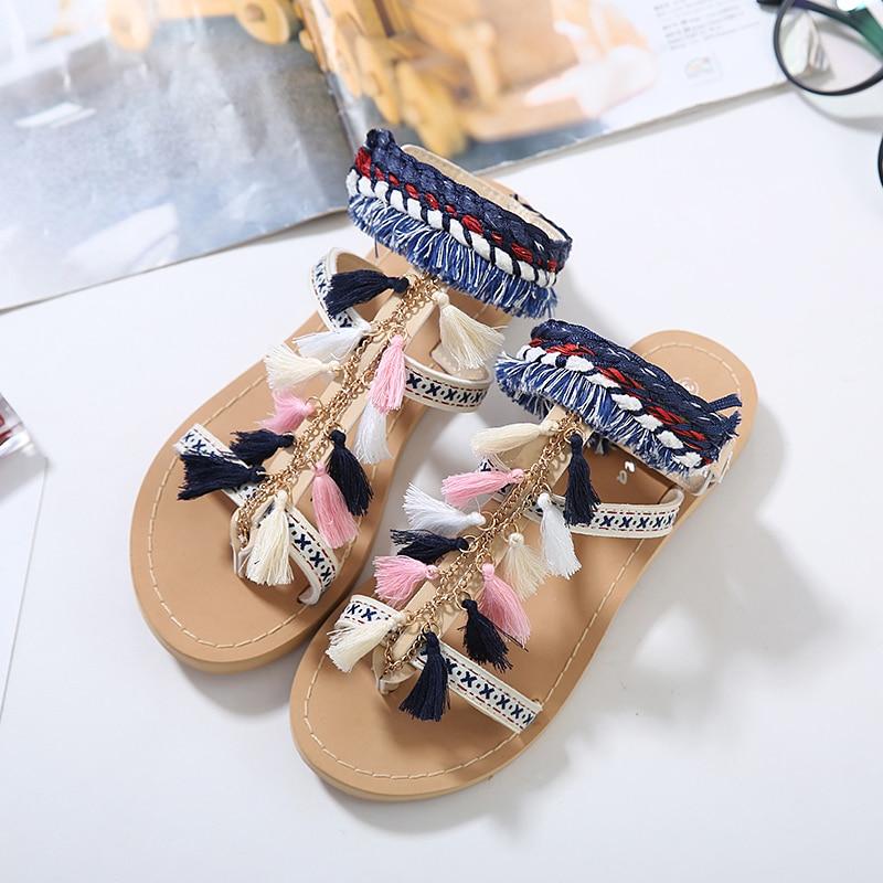 Zapatos Gladiador 2018 Multicolor Borla Beige Mujeres De M402 Plano Pom Mujer Shidiweike Verano Tacón Bohemia Sandalias tdnZqYwvx