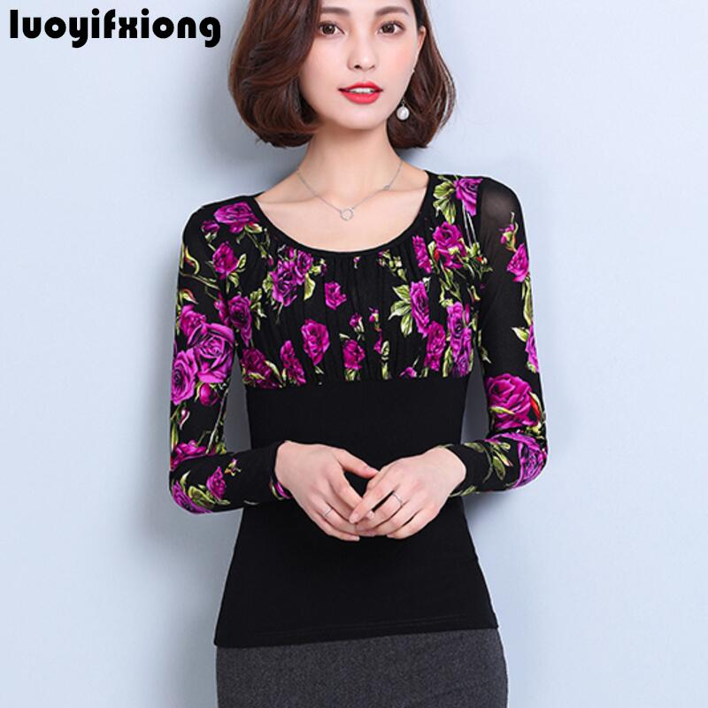 Lace   Blouse     Shirt   Women Tops 2019 Fashion Autumn Long Sleeve Elegant Floral Print Women   Blouses   Ladies Plus Size Womens Clothing