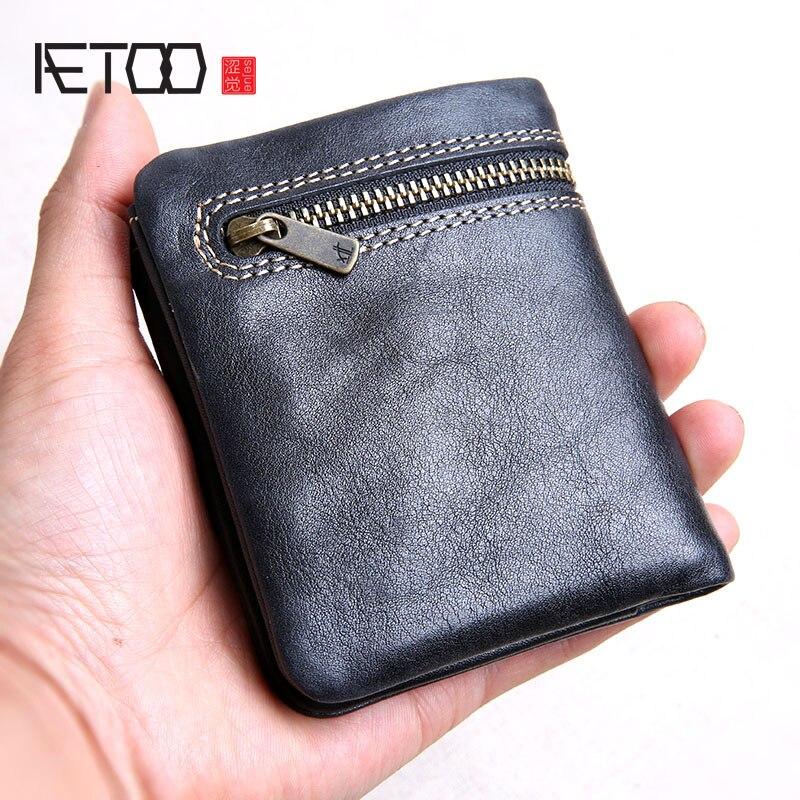 AETOO Purse Wallet Short Zipper-Buckle Handmade Mini Men's Ultra-Thin First-Layer