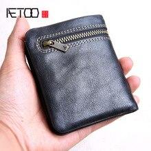 AETOO Mini purse men's handmade leather ultra-thin soft leat