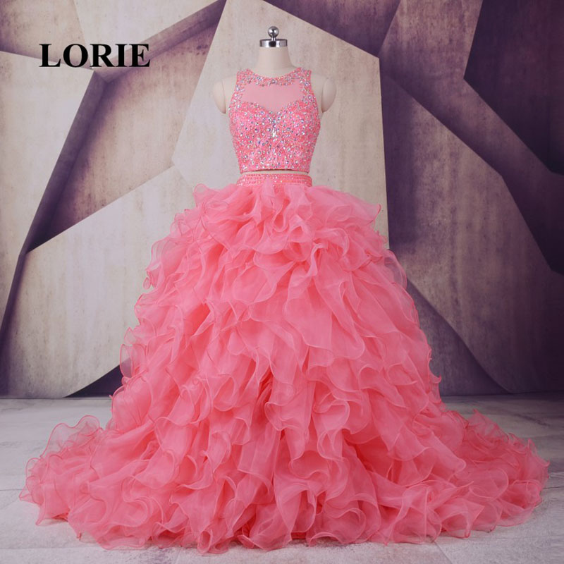 LORIE Quinceanera Klänningar Beaded With Rhinestones Bollkjole Organza Pink Two Piece Prom Gown Debutante Den 15 november 2017
