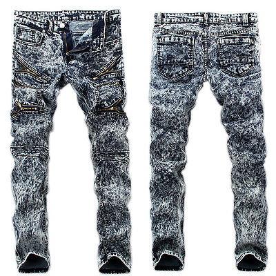 Men Slim Fit Urban Straight Leg Trousers Casual Jogger Hip-hop Pants 28 30 32 34