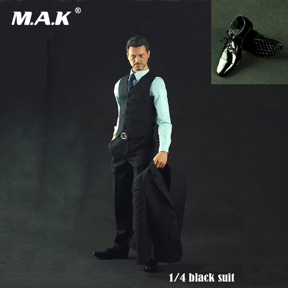 1/4 Scale Male Clothes Black Suit Costume Tony Stark Clothing Set & Leather Shoes for 1:4 Action Figures Body 1 6 scale male clothes suit leather jacket men s jacket suit model for 12 action figure body accessories
