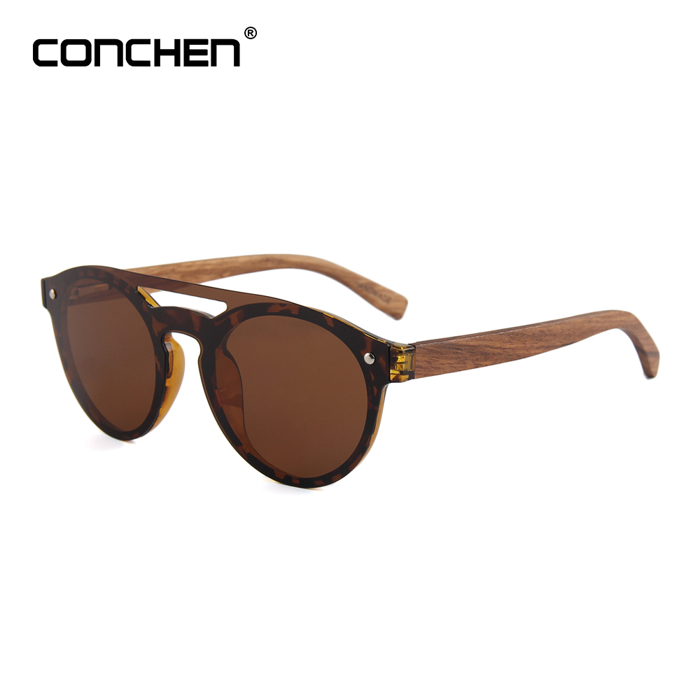 CONCHEN Wooden Arms Sunglasses Men Fashion Bamboo Bridge Sunglasses Women 2018 Hot