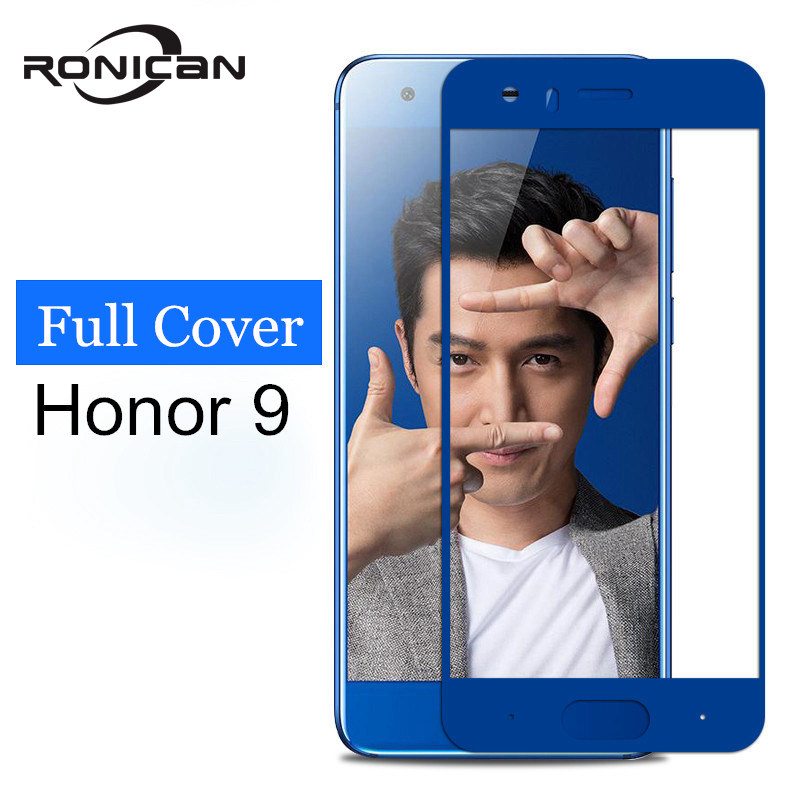 RONICAN For Huawei Honor 9 Glass Tempered Screen Protector Full Cover Blue Protective Film For Huawei Honor9 Tempered Glass Film