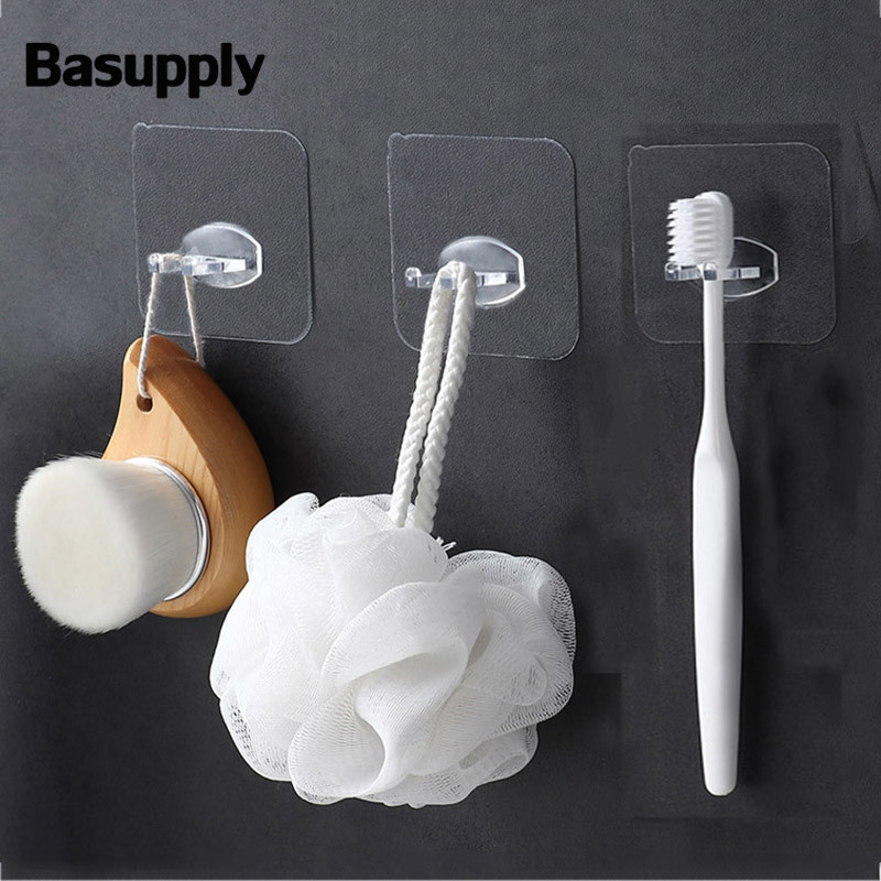 4Pcs/lot Transparent Toothbrush Holder Toilet Shaver Rack Self-adhesive Storage Hook Bathroom Products Kitchen Accessories
