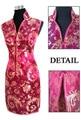 Burgundy Chinese Women's Satin Polyester V-Neck Cheong-sam Mini Qipao Dress Flower S M L XL XXL XXXL JY012-7