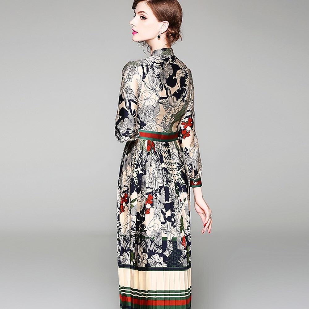 bcb157e7d7 Kobieta sukienka w stylu Vintage drukuj sukienki midi łuk szyi pełna rękaw  szyfon panie elegancka sukienka kobieta Street Style suknie tanie cena w  Kobieta ...