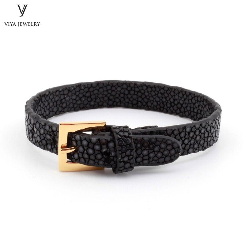 Simple Clasp Flat Stingray Python Cord Wrap Bracelet Charm Cuff Leather Men Bracelet 8mm Real Python Stingray Leather Wristband Adjust Bracelet (33)