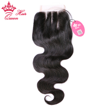 Queen Hair Products Lace Closure Brazilian Body Wave Virgin Hair Natural Color 100% Human Hair Three Part Free Shipping