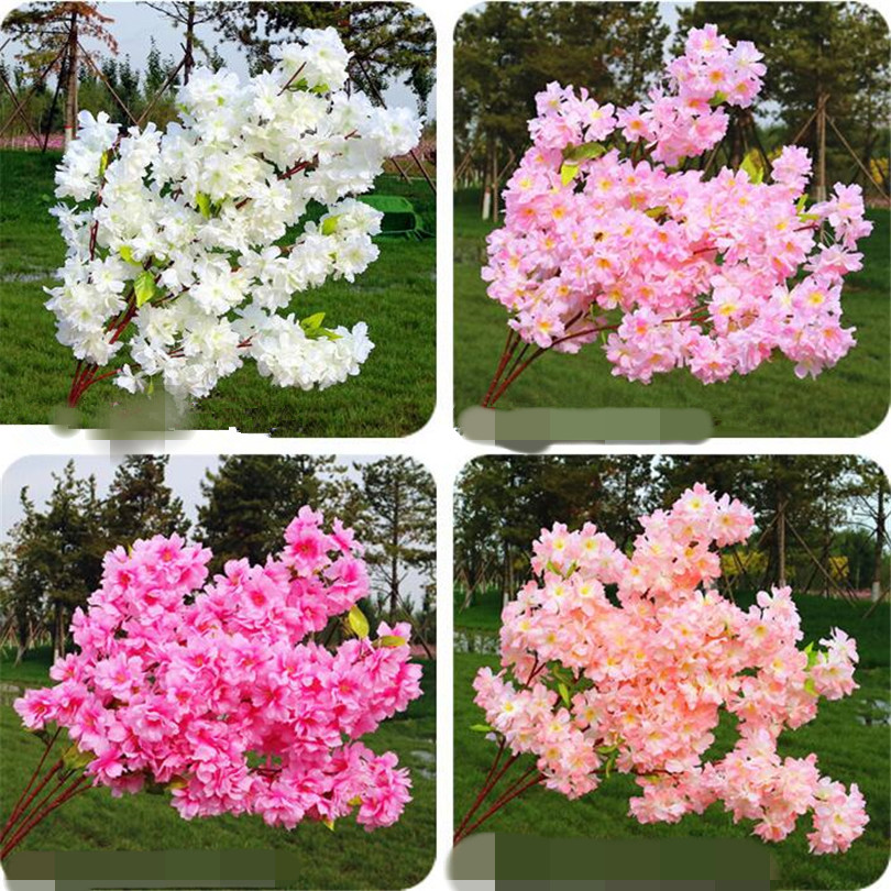 18p Artificial Cherry Blossom Branch Begonia Sakura Tree Stem White/Pink/Blue/Fuchsia/Champagne Beauty Flower 6 Colors
