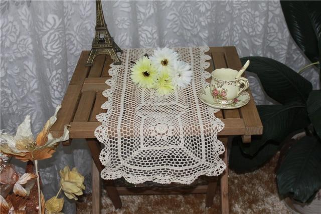 34*90 CM Vintage weiß baumwolle spitze tischläufer handgemachte ...